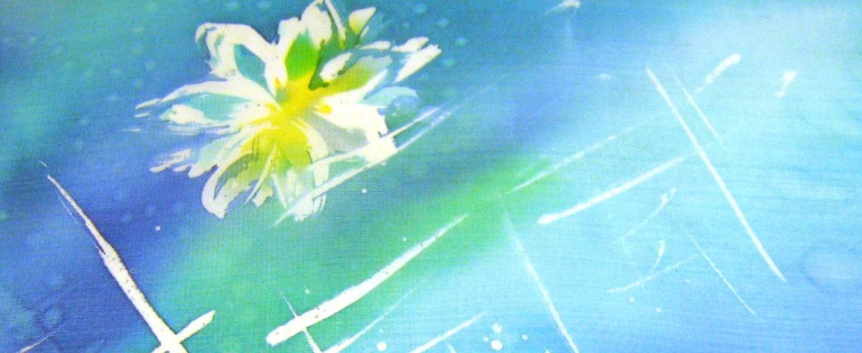Viaszbatik kendő, részlet, Csete Gabi tanfolyami alkotása