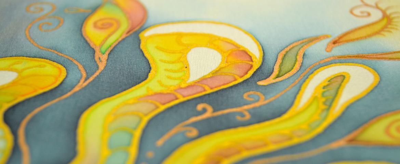 selyemfestmény, részlet