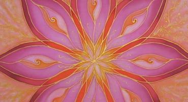 Bozó E. Liza selyemfestménye, Vénusz virága mandala