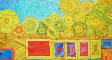 Hundertwasser inspirációs kendő, Pankovits Aranka
