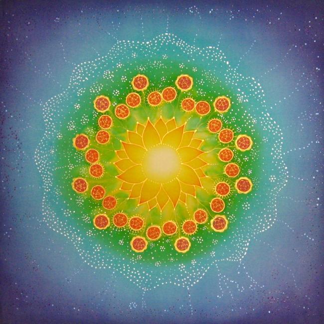 Személyre szólóan festett mandala, 50x50 cm