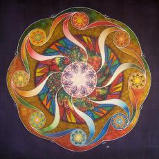 5 ritmus mandala, selyemkép