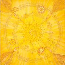 Arany mandala, 65x65 cm, keretezve