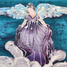 Balinéz viaszbatik selyemre - tanfolyami selyemkép