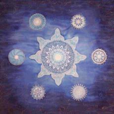 Csillag mandala, selyemkép