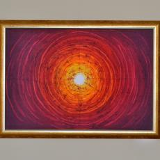 Nap, viaszbatik selyemkép, 40x60 cm