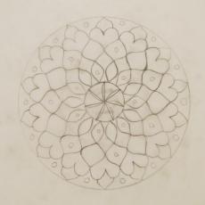 Mandala terv, pauszpapír, ceruza