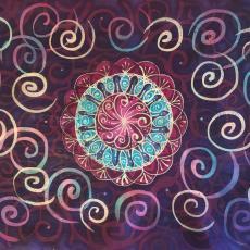 Mandala, viaszbatik selyemkép, 40x60 cm, keretezve