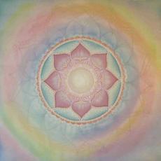 Meditáció mandala, selyemkép