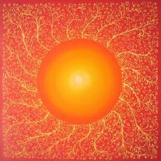 Nap, selyemkép, 40x40 cm