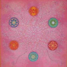 Nőiség mandala, selyemkép