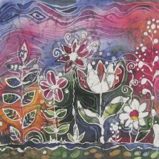 Viaszbatik selyemkép, Virágok, Kati alkotása