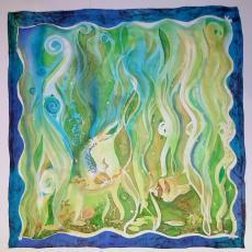 Viaszbatik selyemre, kép