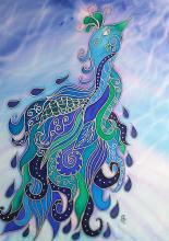 Boldogság kék madara - selyemkép, Várnay Krisztina