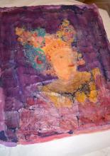 Viaszbatik selyemre tanfolyam alkotás, vasalás előtt