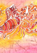 Viaszbatik selyemre tanfolyami alkotás
