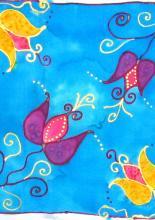 Éves selyemfestés tanfolyam, selyemkendő