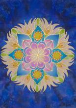 Gőzölős selyemfestékkel festett mandala