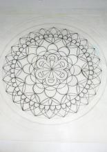 A mandala mintára ráragasztottam a fóliát
