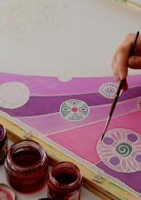 Selyemsál festése, részlet