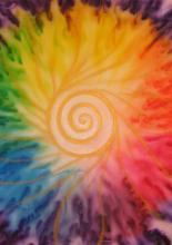 Vasalós selyemfestékkel festett kép, vízeffekttel