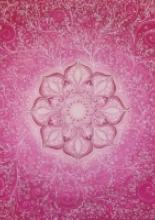 Gyengédség mandala, személyre szóló selyemkép, 90x90 cm